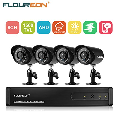 floureon 8 CH House Camera System DVR 1080N AHD + 4 Outdoor/Indoor Bullet Home Security Cameras 1500TVL 720P 1.0MP AHD Resolution Night Version for House/Apartment/Office ()