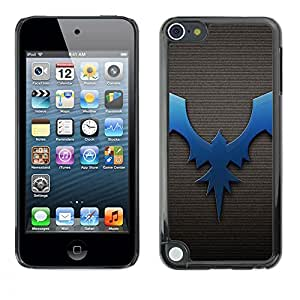 Jordan Colourful Shop - Bat Dragon Dark Blue Brushed For Apple iPod Touch 5 Custom black plastic Case Cover