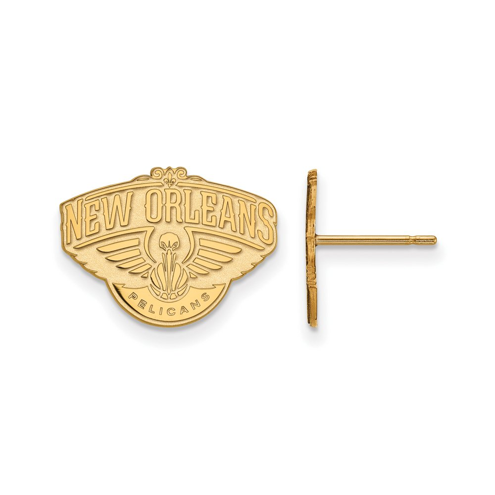 NBA New Orleans Pelicans Post Earrings in 10K Yellow Gold