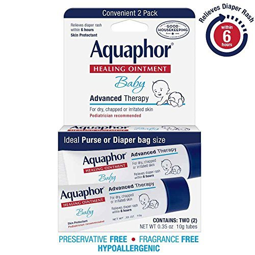 Aquaphor Baby Healing Ointment Diaper Rash and Dry Skin Protectant, .35oz Dual Pack by