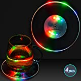 LED Coasters,Homecube Plastic LED Multicolor Cup Mat Party Supply Led Coaster for Bottle (4 PCS)