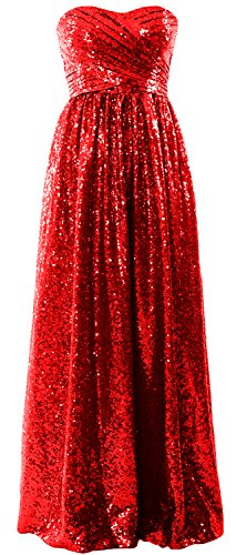 MACloth Women Strapless Sequin Long Bridesmaid Dress Formal Party Evening Gown Rojo