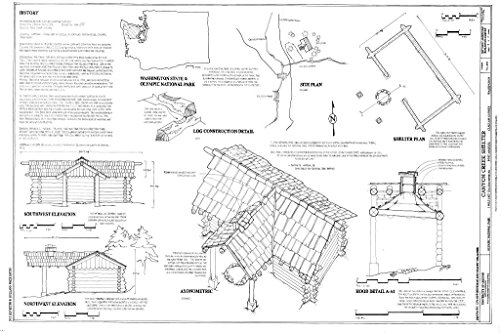 Blueprint Diagram Site Plan, Elevations, Plan, Axonometric, Construction Detail, Details. - Canyon Creek Shelter, 1 Mile East Sol Duc River Road, Port Angeles, Clallam County, WA 44in x 30in