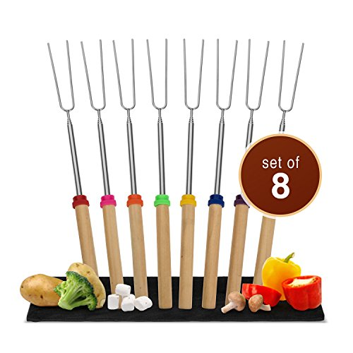 Canvas Grill Set (Wealers Marshmallow Roasting Sticks, Set of 8 Telescopic S'more Skewers. Camping Cookware for Kebab, Hot Dog, Sausage. Perfect for Patio Grill & Campfire with Kids. Packed in Canvas pouch (SET OF 8))