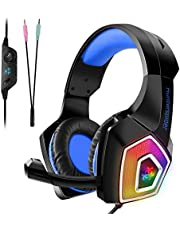 PS4 Headset, Tenswall Gaming Headset for Xbox One,PC, PS4, Laptop, Tablet, Mobile,LED Light Over-Ear Stereo Sound Gaming Headphone with Mic Noise Cancelling & Volume Control,Blue