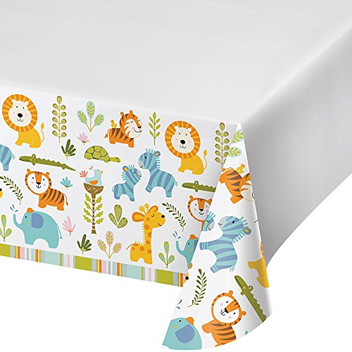 Creative Converting Border Print Plastic Tablecover, Happi Jungle - 324593 -
