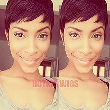 HOTKIS Human Hair Short Cut Wigs Very Short Natural Hair Bob Short Wigs for Women (Pixie Cut-Natural Color)