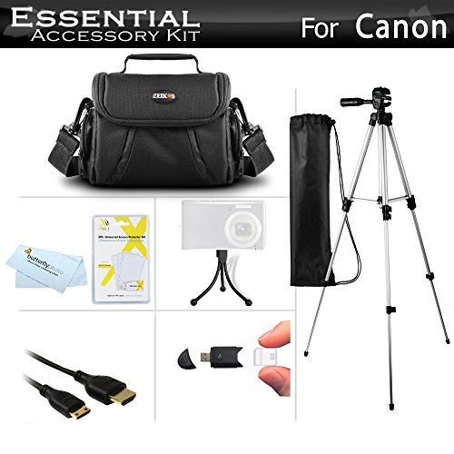 Starter Accessories Kit For Canon PowerShot SX40 HS, G1 X, SX530 HS, SX540 HS, SX50 HS, SX60HS, SX60 HS, Powershot G15, G16, G3 X Digital Camera Includes Carrying Case + 50 Tripod w/ Case + More by ButterflyPhoto