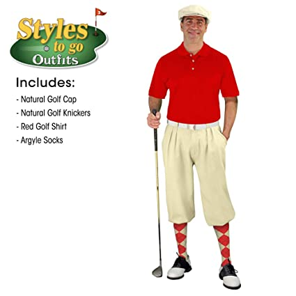 bac6e6dc5 Styles to Go - Mens Natrual   Red Complete Golf Outfit - Waist Size 26 -