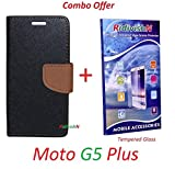 RidivishN (COMBO OFFER) Motorola Moto G5 Plus / Moto G5 Plus - - - Fancy Wallet Flip Case Cover (Black,Brown) + Premium Tempered Glass Screen Protector - - - (Transperent)