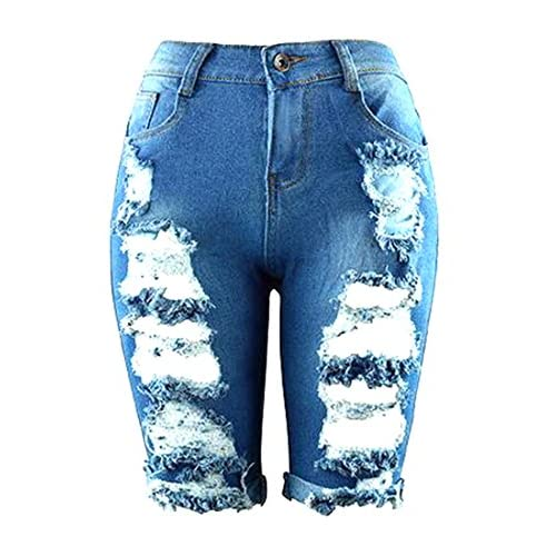 Wholesale Cruiize Womens Ripped Knee Length Ripped High Waist Denim Shorts Blue 12-14 supplier