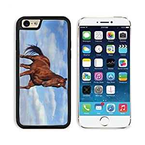 Brown Horse Alone Clouds Mustang Animal Apple iPhone 6 TPU Snap Cover Premium Aluminium Design Back Plate Case Customized Made to Order Support Ready Luxlady iPhone_6 Professional Case Touch Accessories Graphic Covers Designed Model Sleeve HD Template Wallpaper Photo Jacket Wifi Luxury Protector Wireless Cellphone Cell Phone