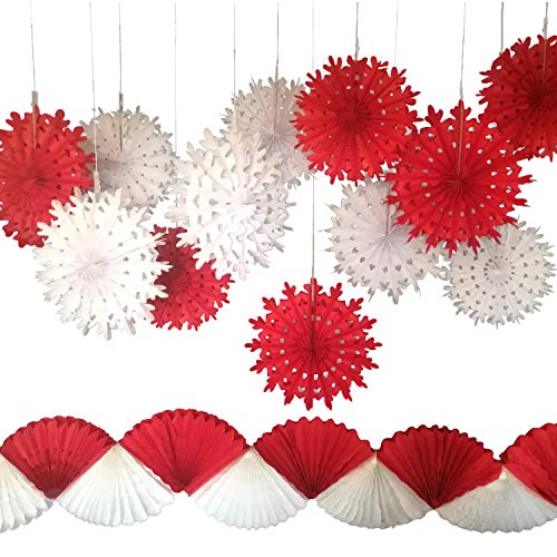 (Snowflake Paper Fans with Red and White Garland, Set of 13. Party Decorations for Christmas Parties, Winter Wedding, Birthday, New Years Eve Party)