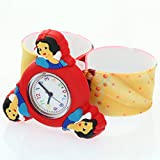 Snow White Princess Silicone Strap Round Quartz Kid 3D Character Spinner Rotating Case Waterproof Slap On Rubber Band Arabic Numerial Dial Children Toddler Wristwatches Time Teacher Boy Girl Watches