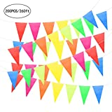 Unomor 260Feet Multicolor Pennant Banner Flags Banners for Party Decorations, Birthdays, Festivals Decorations (260feet Pennant Banner)