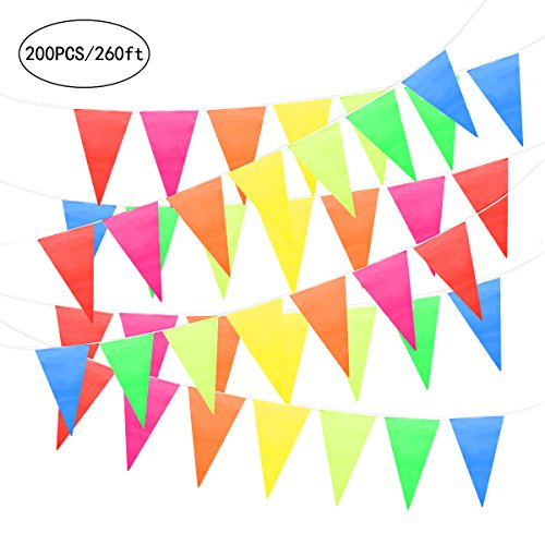 UNOMOR 260Feet Pennant Banner  Multicolor Triangle Flag Bunting For Party Festivals Decorations - (Multi Color Pennant)