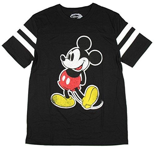 Disney Womens Mickey Mouse Varsity Football Tee (Black, Small)