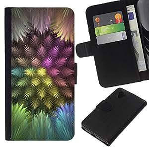 KLONGSHOP // Tirón de la caja Cartera de cuero con ranuras para tarjetas - Plumas coloridas - LG Nexus 5 D820 D821 //