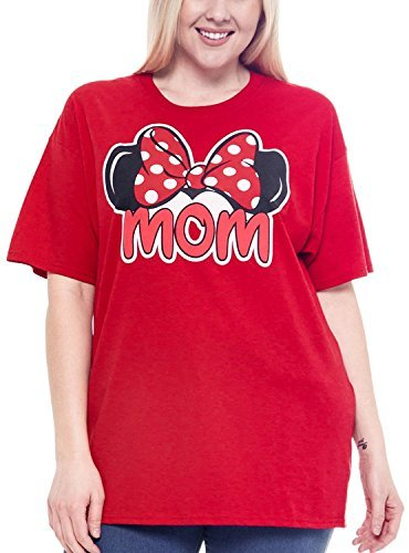 Disney Plus Size T-shirt Mom Minnie Mouse Ears & Bow Red (XXL)