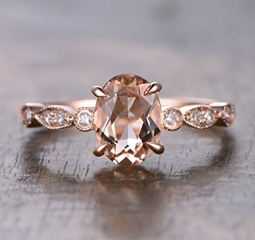 (Oval Morganite Engagement Ring Pave Diamond Wedding 14K Rose Gold 6x8mm Art Deco)