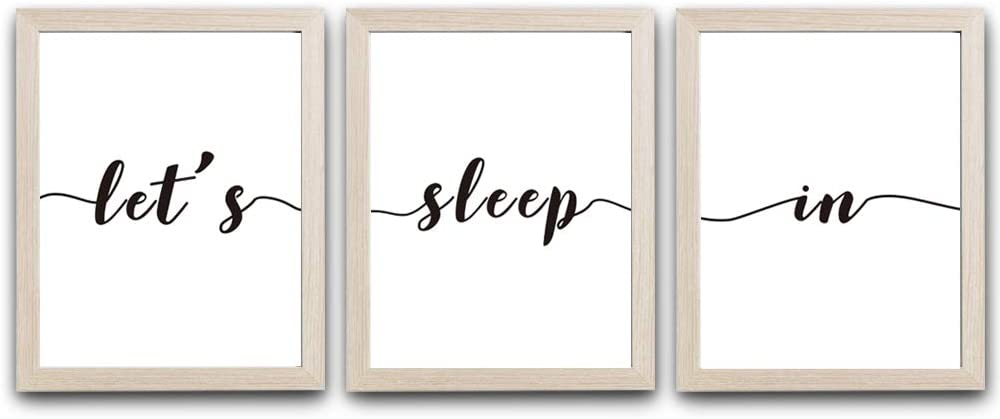 """HPNIUB Framed Let's Sleep In Art Prints,Set of 3 (10""""X8"""")-Ready to Hang Minimalist Typography Wall Saying Poster, Black and White Quotes Canvas Frames for Bedroom Home Decor"""