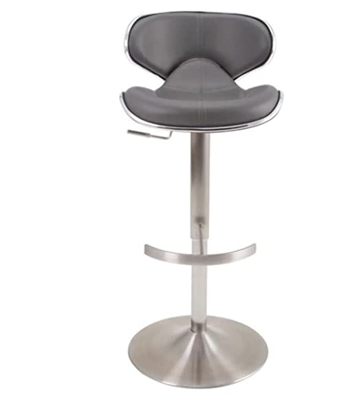 ecco brushed stainless steel adjustable height swivel bar stool grey