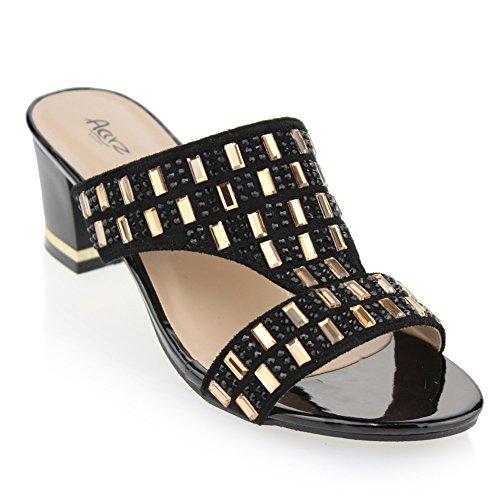 AARZ LONDON Frau Damen Abend Beiläufig Party Schlüpfen Diamant Dekoriert Blockabsatz Sandalen Schuhe Größe Schwarz