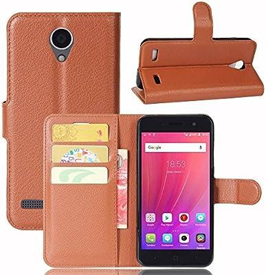Guran® Funda de Cuero PU Para ZTE Blade A520 Smartphone Función de Soporte con Ranura para Tarjetas Flip Case Cover Caso-marrón