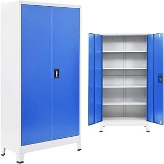 vidaXL Armadio Ufficio in Metallo 90x40x180 cm Grigio e Blu Schedario Ufficio