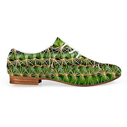 Shoes Fashion 1 Casual Leather green Flats Lace Print Green Flat Oxford up zw6pY