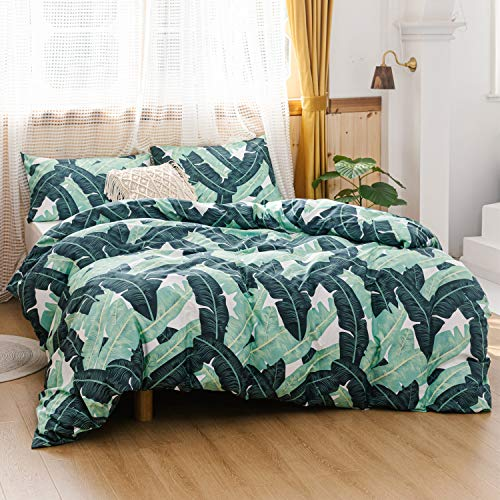 ECOCOTT 3 Pieces Duvet Cover Set Queen 100% Natural Cotton 1 Duvet Cover 2 Pillowcases, Tropical Banana Lush Leaves Printed Pattern Soft Cozy Luxury Breathable and Durable Bedding Set (Tropical Queen Bedding Sets)