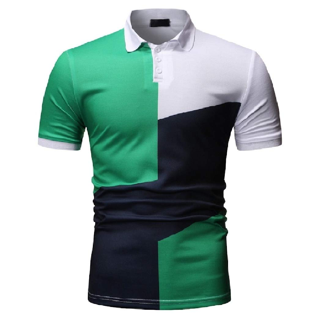 Mfasica Mens Stylish Polo Shirts Silm Fit Casual Color Conjoin Tees