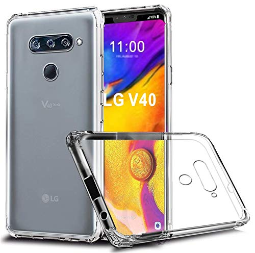 LG V40 Case, LG V40 ThinQ Case, GETE Lightweight Soft Clear Slim Crystal Full Body Protection Phone Cases Cover LG V40 (Clear)
