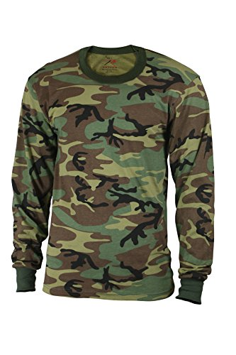 Rothco Kids Long Sleeve T-Shirt, Woodland Camo, Medium