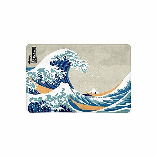(InterestPrint Vintage Japanese Sea Wave Art and Fuji Mountain Doormat Non-Slip Indoor and Outdoor Door Mat Rug Home Decor, Entrance Rug Floor Mats Rubber Backing, 23.6