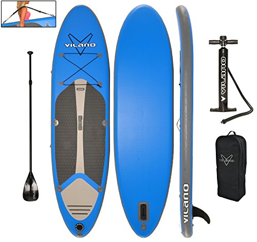 Vilano Navigator 10 (6 Thick) Inflatable SUP Stand Up Paddle Board Package
