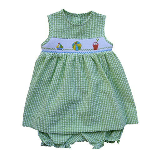 - Carriage Boutique Baby Girl Sleeveless Dress - Hand Smocked Green Gingham Beach Scene, 6M (Newborn)