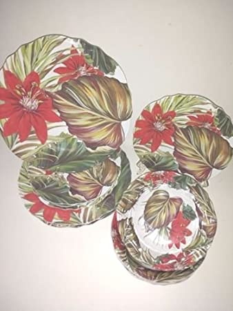 Coastal Living Seascapes Tropical Floral Melamine Dinnerware - Service for 4 & Amazon.com | Coastal Living Seascapes Tropical Floral Melamine ...