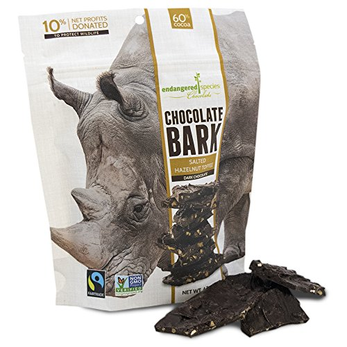 Endangered Species Bark Dark Chocolate, Salted Hazelnut Toffee, 4.7 Ounce (Pack of ()