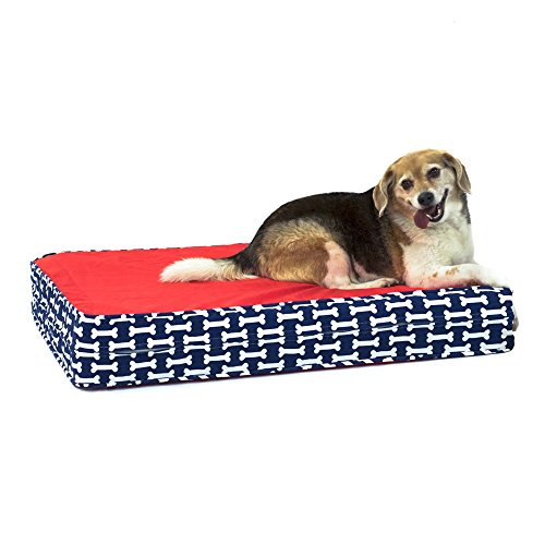 51wB%2BjtPOSL - eLuxurySupply Dog Bed - Give a Dog a Bone | Orthopedic Gel Memory Foam - Made in the USA | Durable 100% Cotton Canvas Cover | Waterproof Encasement | Machine Washable | Small, Medium & Large Dogs