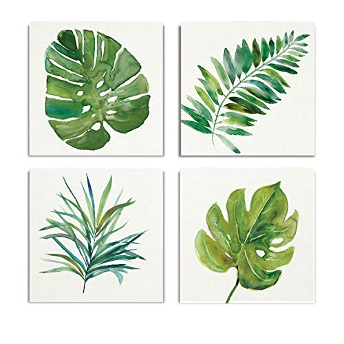 (WEXFORD HOME Palm Fronds Flower Spring Collection Canvas Print 4 Panels Set Décor for Home Office Wall Art, 12X12, Frameless)