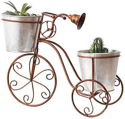 My Yard Soporte de Flores de Hierro Forjado Soporte para macetas de Bicicletas de pie de Hierro Soporte de Flores de Bicicleta de Hierro Forjado Soporte de Flores Doble