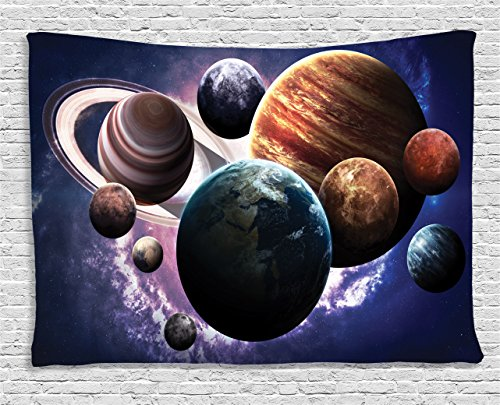 Ambesonne Space Decorations Collection, Solar System Planets All Together in Space Mercury Jupiter Globe Saturn Universe Concept, Bedroom Living Room Dorm Wall Hanging Tapestry, 80 X 60 Inches, Multi Mercury Hand Woven Rug