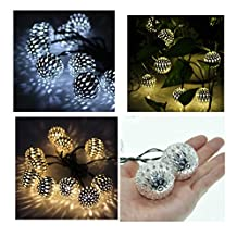 Fding Waterproof Solar Powered 10 Balls/set Moroccan String LED Fairy Lights Christmas Decoration(warm White)