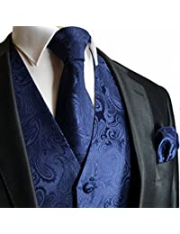 Brand Q Men's 3 Piece Paisley Vest NeckTie & Pocket Square Set for Suit/Tuxedo