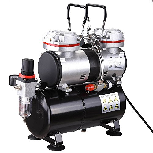 AW Pro 1/3 HP Twin-cylinder Airbrush Compressor 3-7 Bar 3.5L Air Tank For Decorating Body Art by AW