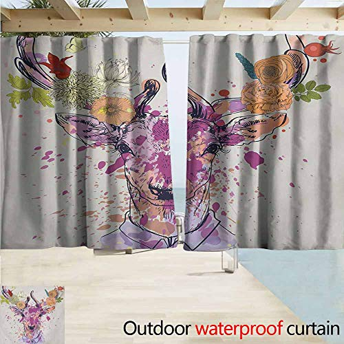AndyTours Outdoor Blackout Curtains,Indie Artistic Colorful Deer Portrait with Color Splashes and Various Flowers on The Horns,Rod Pocket Energy Efficient Thermal Insulated,W72x45L Inches,Multicolor