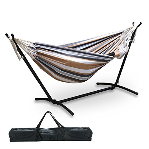Nova Microdermabrasion Garden Double Hammock with Space Saving Steel Stand 9 ft Includes Portable Carrying Case,450 Pound Capacity (Desert Stripe) by Nova Microdermabrasion