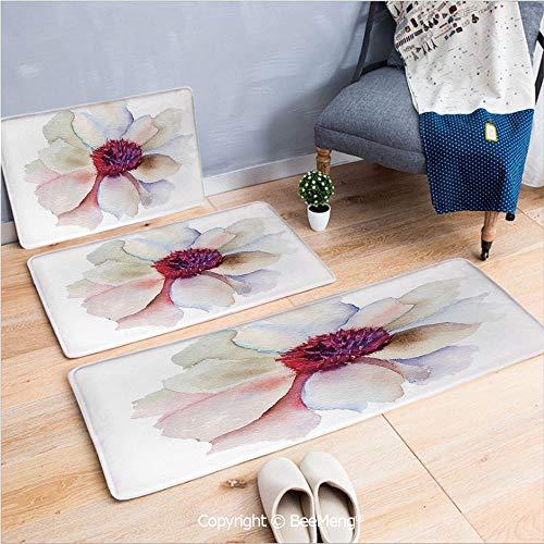 - 3 Piece Water Uptake Indoor Modern Anti-Skid Cartoon Carpet,Watercolor,Flower Blossom Artwork with Tender Petals Romantic Dreamlike Garden Plants Decorative,Red Pink Cream,16x24/16x39/18x45 inch