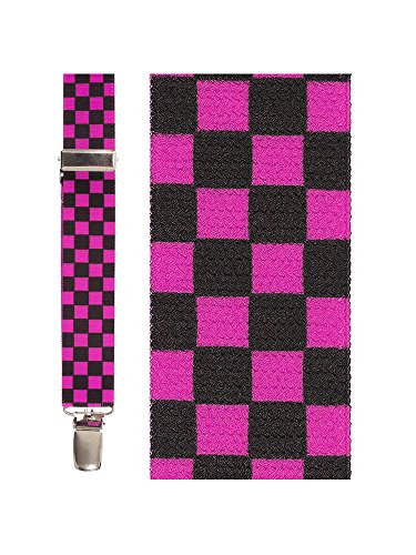 Men's Novelty Suspenders (Black & Hot Pink Checkers)